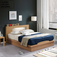 10SPACE LED형광등 로렌 평상형 침대 퀸 LED04-Q (힐링 7존독립스프링매트리스포함)