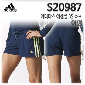 S20987 아디다스 에센셜 3S 쇼츠 여성 반바지 트레이닝복 운동복 숏팬츠 핫팬츠 니트쇼츠 니트반바지