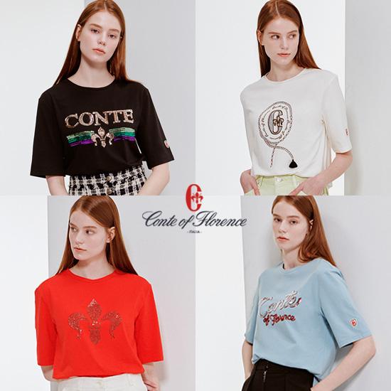 꼰떼오브플로렌스 여성용 그래픽 티셔츠 4종