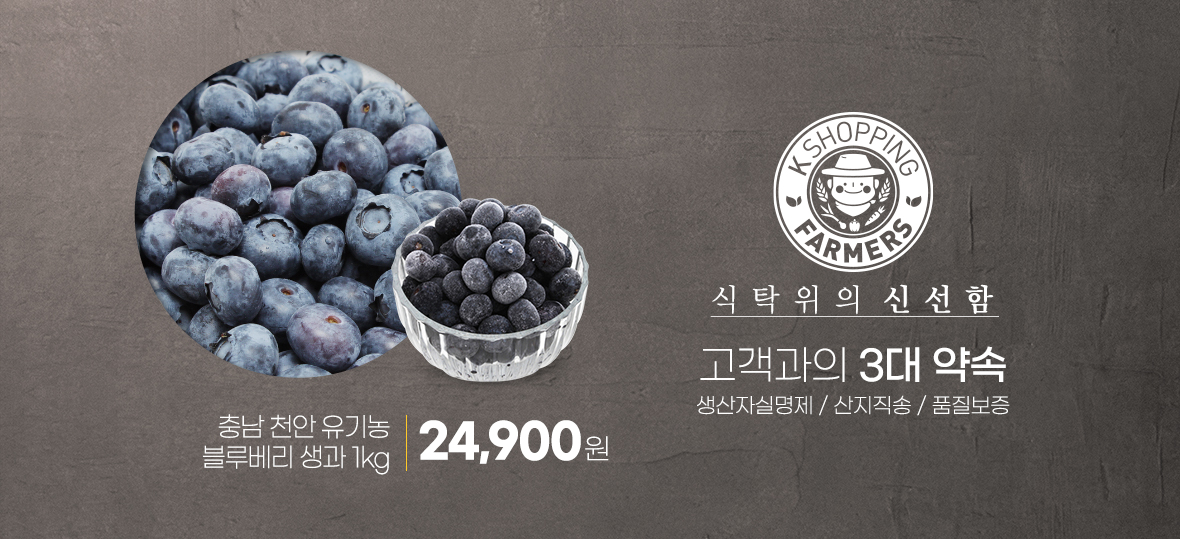 식탁위의 신선함, 충남 천안 유기농 블루베리 생과 1kg 24,900원